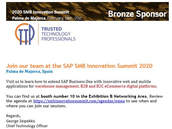 2020 SAP SMB Innovation Summit Team